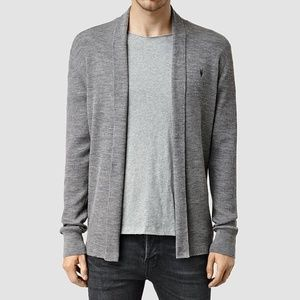 All Saints Mode Merino Wool Open Cardigan